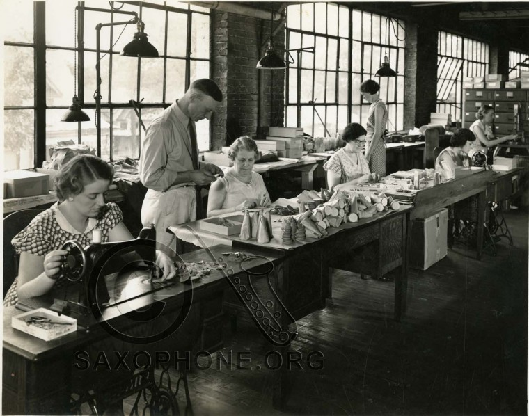 Buescher Band Instrument Co.  August 1935  Padding Department