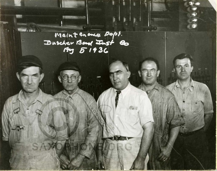 Buescher Band Instrument Co.  August 5, 1936-Maintenance Department