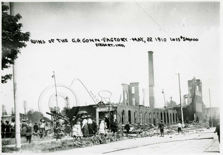 Ruins of the C.G. Conn Factory May 22, 1910-Loss:$500,000-Elkhart, Indiana