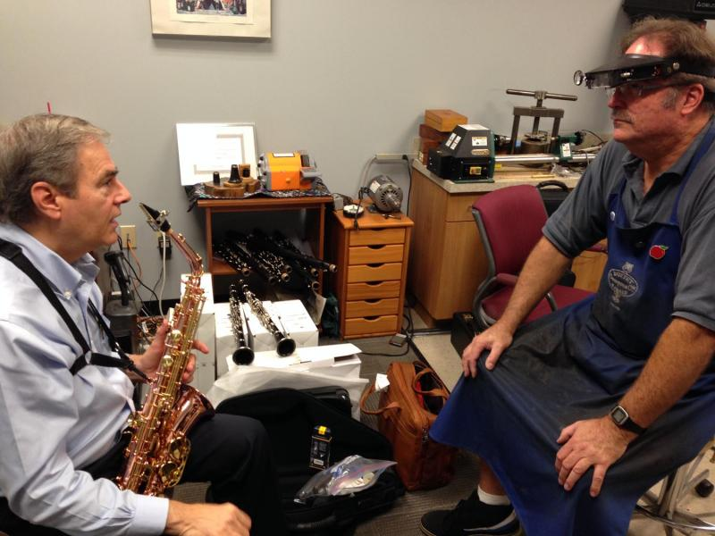 Buffet's Bruce Marking finely tunes a Buffet SENZO saxophone for James Steele of the Washington Saxophone Quartet