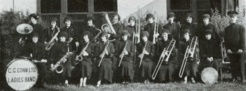 C.G. Conn LTD Ladies Band 1921 - In the front row, left to right, are: Mildred Easterday Steele, Hazel Kidder Smith, Lucille Reed Grove, Pearl Roberts, Marion Cornish Davidson, Josephine Butler Tillman, Grace Smith, Lucile Metzger Urbanek and Lillian Hege Lambdin. Back row: Ann Sass, Grace Bleiler Wade, Fannie Kuhn Bell, Eleanor Denslow, Ruth Boyland Claussen, Irene Sones Hacker, Edith Lord, Thelma Gruber, Elizabeth Buchanan and Geneva Boyland Staunton